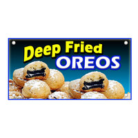 12 inch x 24 inch Rectangular Concession Stand Sign with Fried Oreos Design