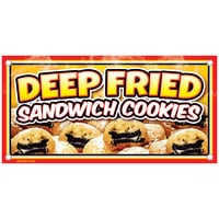 12 inch x 24 inch Rectangular Concession Stand Sign with Fried Sandwich Cookies Design