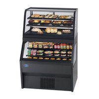 Federal CD3628SS/RSS3SC 36 inch Black Dual Service Dual Temperature Merchandiser with Self-Service Top Display