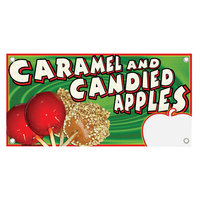 12 inch x 24 inch Rectangular Concession Stand Sign with Caramel and Candy Apple Design