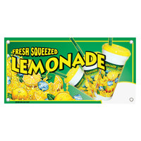12 inch x 24 inch Rectangular Concession Stand Sign with Fresh Squeezed Lemonade Design