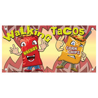 12 inch x 24 inch Rectangular Concession Stand Sign with Walking Taco Design