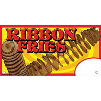 12 inch x 24 inch Rectangular Concession Stand Sign with Ribbon Fries Design