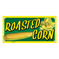 12 inch x 24 inch Rectangular Concession Stand Sign with Roasted Corn Design