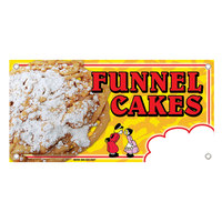 12 inch x 24 inch Rectangular Concession Stand Sign with Funnel Cake Design