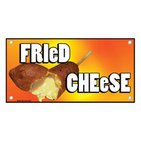 12 inch x 24 inch Rectangular Concession Stand Sign with Fried Cheese Design
