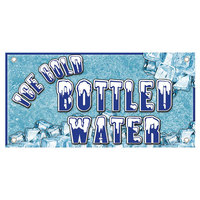 12 inch x 24 inch Rectangular Concession Stand Sign with Ice Cold Bottled Water Design