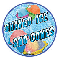 12 inch Round Concession Stand Sign with Shaved Ice / Sno Cone Design - 2/Pack