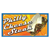 12 inch x 24 inch Rectangular Concession Stand Sign with Philly Cheesesteak Design