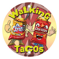 12 inch Round Concession Stand Sign with Walking Taco Design - 2/Pack