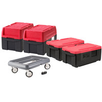 Metro Mightylite Top Loading Full Size Insulated Pan Carrier Kit with Four Carriers and Dolly