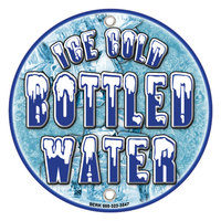 12 inch Round Concession Stand Sign with Ice Cold Bottled Water Design - 2/Pack