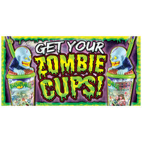 12 inch x 24 inch Rectangular Concession Stand Sign with Zombie Cups Design