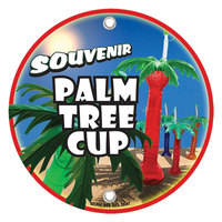 12 inch Round Concession Stand Sign with Souvenir Palm Tree Cup Design - 2/Pack
