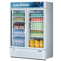 Turbo Air TGM-47SD White 54 inch Super Deluxe Two Door Refrigerated Merchandiser - 46.2 Cu. Ft.