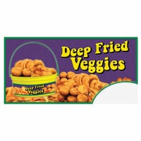12 inch x 24 inch Rectangular Concession Stand Sign with Deep Fried Vegetables Bucket Design