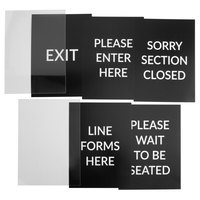 Lancaster Table & Seating Stanchion 11 1/2 inch x 16 1/2 inch Sign Set with Clear Covers
