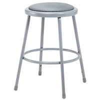 National Public Seating 6424 24 inch Gray Round Padded Lab Stool