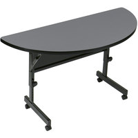 Correll FT2448HR 24 inch x 48 inch Half Round Premium Laminate High Pressure Deluxe Flip Top Table
