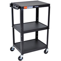 Luxor AVJ42 Black 3 Shelf A/V Utility Cart 24 inch x 18 inch - Adjustable Height