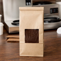 1 lb. Brown Kraft Customizable Tin Tie Cookie / Coffee / Donut Bag with Window - 1000/Case
