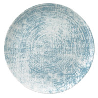 Schonwald 9331228-63072 Shabby Chic 11 inch Structure Blue Round Porcelain Coupe Plate - 6/Case