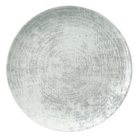 Schonwald 9331232-63070 Shabby Chic 12 5/8 inch Structure Grey Round Porcelain Coupe Plate - 6/Case