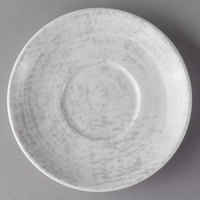 Schonwald 9016919-63070 Shabby Chic 5 1/2 inch Structure Grey Round Porcelain Saucer - 12/Case