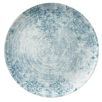 Schonwald 9331217-63073 Shabby Chic 6 3/4 inch Structure Blue with Ornaments Round Porcelain Coupe Plate - 12/Case
