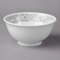 Schonwald 9336664-63071 Shabby Chic 10 oz. Structure Grey with Ornaments Round Porcelain Bowl - 12/Case