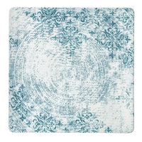 Schonwald 9131524-63073 Shabby Chic 9 1/2 inch Structure Blue with Ornaments Square Porcelain Coupe Plate - 6/Case
