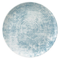 Schonwald 9331217-63072 Shabby Chic 6 3/4 inch Structure Blue Round Porcelain Coupe Plate - 12/Case