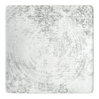 Schonwald 9131524-63071 Shabby Chic 9 1/2 inch Structure Grey with Ornaments Square Porcelain Coupe Plate - 6/Case