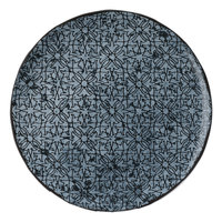 Schonwald 9331230-63077 Shabby Chic 11 7/8 inch Stone with Ornaments Round Porcelain Coupe Plate - 6/Case