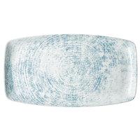 Schonwald 9332336-63072 Shabby Chic 14 1/8 inch x 7 7/8 inch Structure Blue Rectangular Porcelain Platter - 6/Case