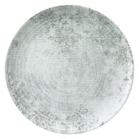 Schonwald 9331228-63071 Shabby Chic 11 inch Structure Grey with Ornaments Round Porcelain Coupe Plate - 6/Case
