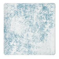 Schonwald 9131520-63072 Shabby Chic 7 7/8 inch Structure Blue Square Porcelain Coupe Plate - 6/Case
