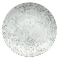 Schonwald 9021328-63071 Shabby Chic 11 inch Structure Grey with Ornaments Round Porcelain Deep Coupe Plate - 6/Case
