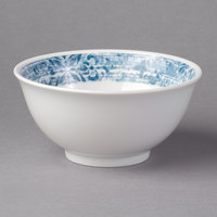 Schonwald 9336664-63073 Shabby Chic 10 oz. Structure Blue with Ornaments Round Porcelain Bowl - 12/Case