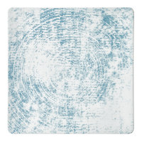 Schonwald 9131527-63072 Shabby Chic 10 5/8 inch Structure Blue Square Porcelain Coupe Plate - 6/Case