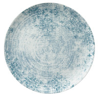 Schonwald 9331221-63073 Shabby Chic 7 7/8 inch Structure Blue with Ornaments Round Porcelain Coupe Plate - 12/Case
