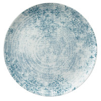 Schonwald 9331232-63073 Shabby Chic 12 5/8 inch Structure Blue with Ornaments Round Porcelain Coupe Plate - 6/Case