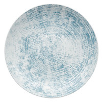 Schonwald 9021328-63072 Shabby Chic 11 inch Structure Blue Round Porcelain Deep Coupe Plate - 6/Case