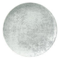 Schonwald 9331228-63070 Shabby Chic 11 inch Structure Grey Round Porcelain Coupe Plate - 6/Case
