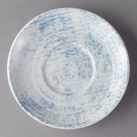 Schonwald 9016919-63072 Shabby Chic 5 1/2 inch Structure Blue Round Porcelain Saucer - 12/Case