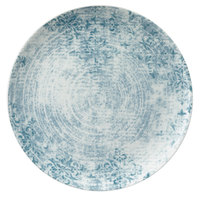 Schonwald 9331228-63073 Shabby Chic 11 inch Structure Blue with Ornaments Round Porcelain Coupe Plate - 6/Case
