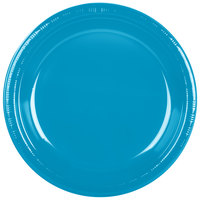 Creative Converting 28313131 10 inch Turquoise Blue Plastic Plate - 20/Pack