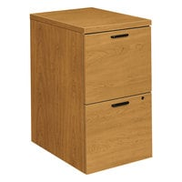 HON 105104CC 10500 Series Harvest Laminate Two-Drawer Mobile Pedestal File Cabinet - 15 3/4 inch x 22 3/4 inch x 28 inch