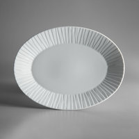Schonwald 9362084 Character 13 1/2 inch x 10 1/2 inch White Oval Porcelain Platter - 6/Case