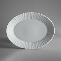Schonwald 9362079 Character 11 1/4 inch x 8 1/2 inch White Oval Porcelain Platter - 6/Case